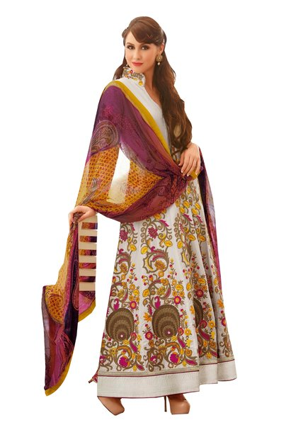 Designer Long Floor Length Semi Stitched Embroidered Anarkali Dress Material