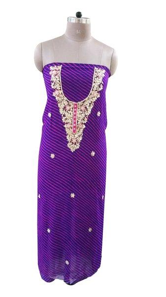 Jaipuri Lehariya Georgette Gotta Patti work Purple Kurti Kurta Fabric GP76