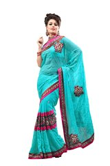Designer Turquoise Blue Georgette Embroidered  Saree SC782A