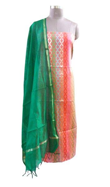 Designer Banarsi Peach Cotton Silk Weaven Shalwar Kameez Dress Material BSD06