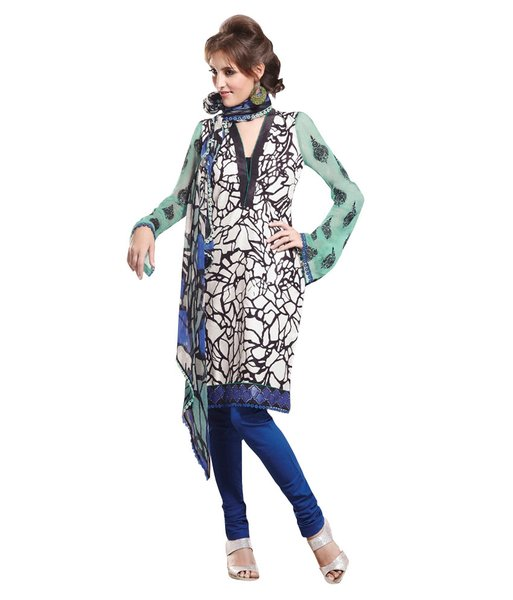 Cotton Blue Salwar Kameez Churidar Fabric SC8143A