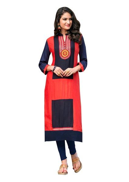 Designer Rayon Cotton Red Embroidered Long Kurta Kurti Size XL SCKS207