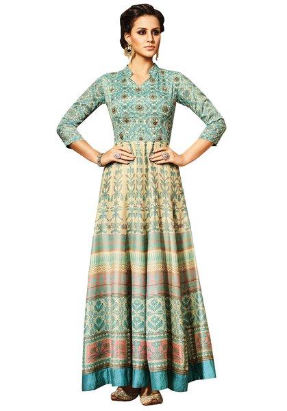 Semi Stitched Cream Turquoise Chandan silk Long Dress Material VP10006