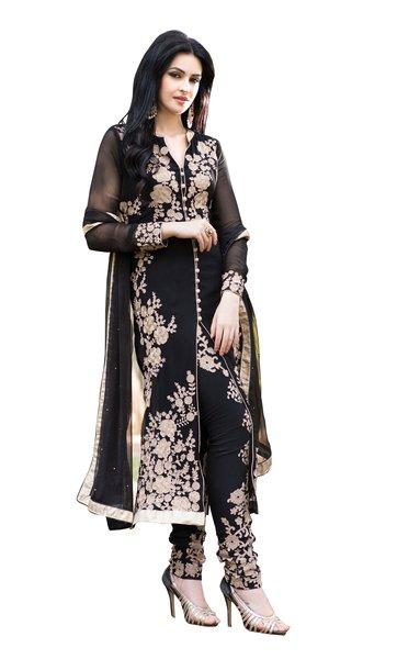 Black Georgette Semi Stitch Dress Material SC308