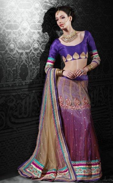 Beige Pink Net Lehenga Choli Dupatta Fabric Only LC506