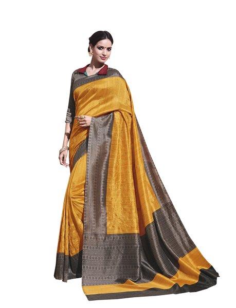 Yellow Printed Soft Embroidered Thappa Silk Saree SC30235
