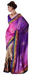 Purple Embellished Chiffon,Raw silk saree SC8416C