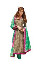 Designer Bhagalpuri printed Coffee Green Salwar kameez Material SC6390A
