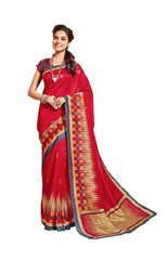 Designer Red Bhagalpuri Cotton Silk Saree SC3038