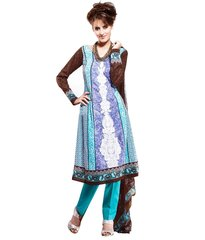 Cotton Blue Salwar Kameez Churidar Fabric SC8140A