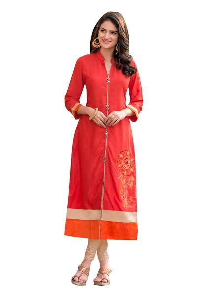 Designer Rayon Cotton Orange Embroidered Long Kurta Kurti Size XL SCKS203