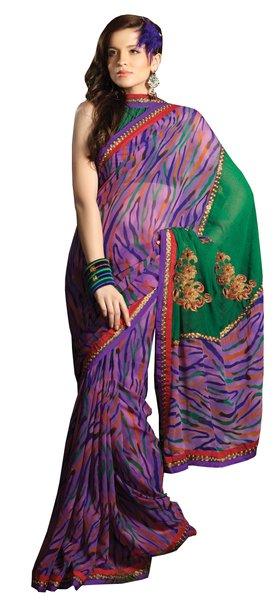 Designer Purple Georgette Lacer Border SC1410