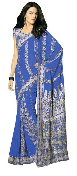 Designer Navy Blue Schiffli Embroidered Georgette saree SC9019A