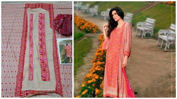 Designer Pakistani Replica Gul Pink Light Embroidered Dress Material Gul11003
