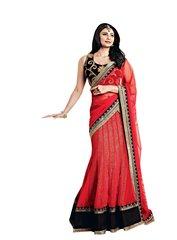 Red Net Three Piece Lehenga Choli Dupatta Fabric Only SC2368