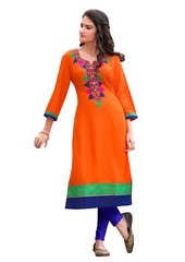 Designer Rayon Cotton Orange Embroidered Long Kurta Kurti Size XL SCKS213