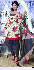 Spun Cotton Grey & Cream Lacer Salwar Kameez Churidar Dress Meterial SC 1047B