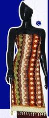 Spun Cotton Multi Broun Lacer Salwar Kameez Churidar Dress Meterial SC 1059C