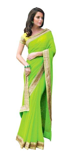 Green Georgette Saree SC31528