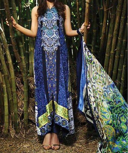 Designer Pakistani Printed Glazed Cotton Blue Pant Style Dress material F5001