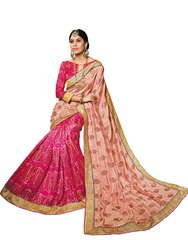 Pink Peach Art Silk Brasso Saree SC19925