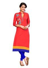 Designer Rayon Cotton Orange Embroidered Long Kurta Kurti Size XL SCKS214
