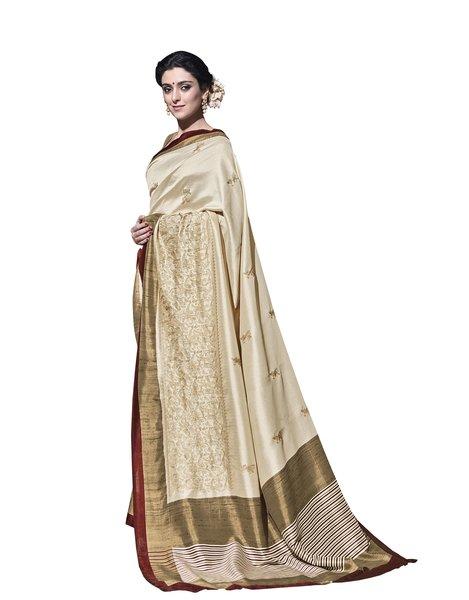 Cream Border Soft Embroidered Thappa Silk Saree SC30239