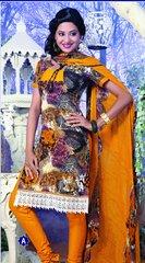 Spun Cotton Multi Mustard Lacer Salwar Kameez Churidar Dress Meterial SC 1063A