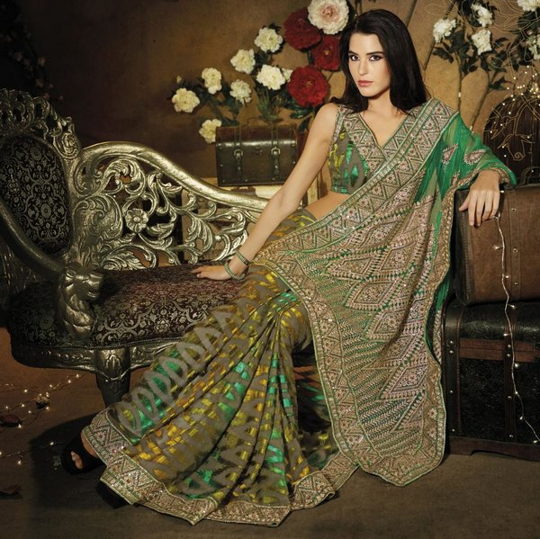 Designer Green Schiffli Embroidered Net saree SC9011B