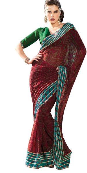 Printed Embellished Bandhini Print Maroon Georgette Saree SC886B