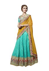 Designer Embroidered Heavy Turquoise Yellow Handloom Silk Lehenga Saree SC4083