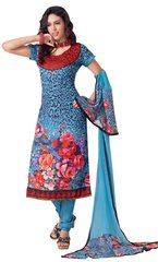 Blue Pashmina Winter Embroidered Dress Material