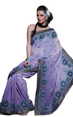 Designer Mauve Georgette Embroidered Saree SC111