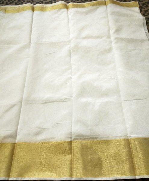 Exclusive Off White Chanderi Cotton Silk Saree Golden Zari Border CS49