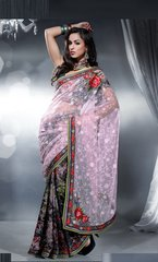 Designer Light Purple Multi net and crepe Embroidered saree SC407