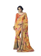 Yellow Orange Double Print Chiffon Saree with Art Silk Border SC21215