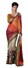 Orange-beige Embellished Chiffon,Raw silk saree SC8416A