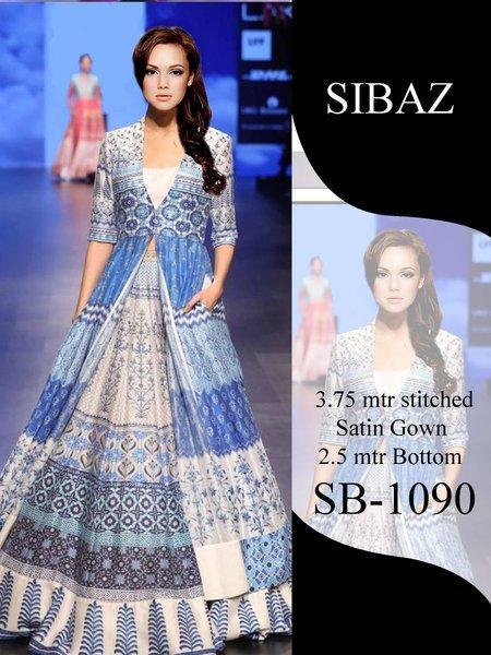 Designer Pakistani Replica Pure Satin Digital Printed Long Gown Size XL SB1090