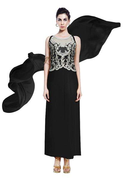 Designer BlackGeorgette Embroidered Dress Material With Chiffon Dupatta B7147