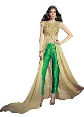 Designer Cream Chiffon Long Semi stitch Anarkali Partywear Dress material SC4005