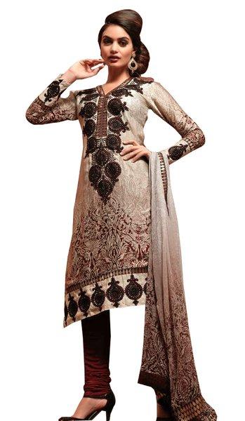 Cream Beige Georgette Embroidered Salwar kameez Churidar Dress Material SC6118