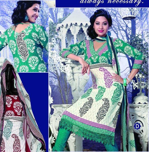 Spun Cotton Offwhite Green Lacer Salwar Kameez Churidar Dress Meterial SC 1061D