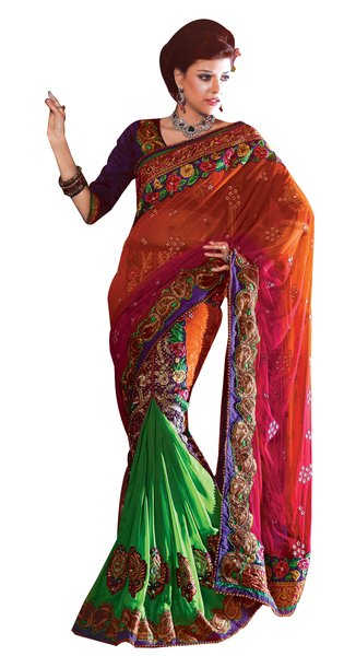 Orange and Green Net Georgette Embroidered Ready Pleated Saree SC2110b