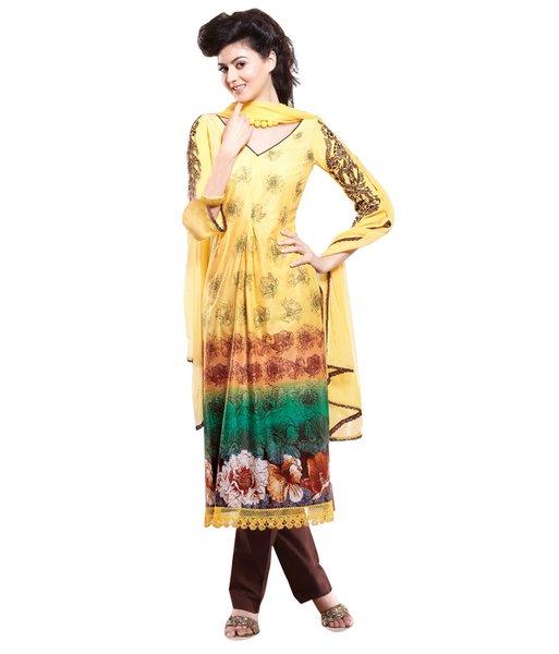 Cotton Brown Salwar Kameez Churidar Fabric SC8141A