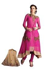 Anvi Creations Pink Pure Chiffon Anarkali Dress Material