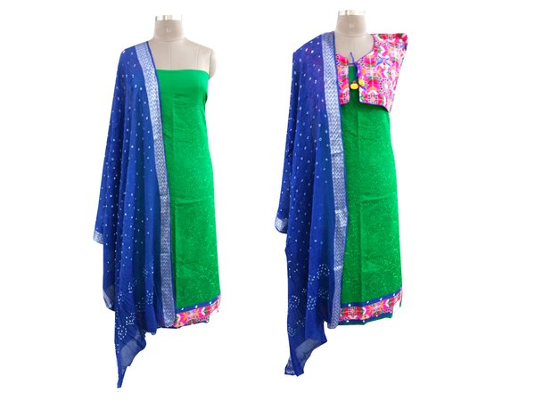 Exclusive Green Cotton Dress Material With Kutchi Embroidered Ethnic Jackets JSD19