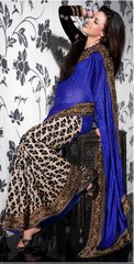 Blue Beige Georgette Embroidered  Saree SCA3605