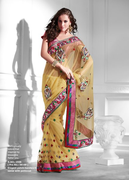 Designer Light Yellow Net Embroidered Heavy Saree SC2108