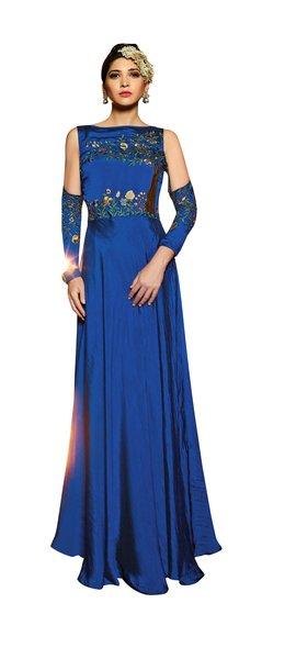 Designer Ready to Wear Blue Slub Satin Silk Embroidered Long Gown Dress Size 42 A418