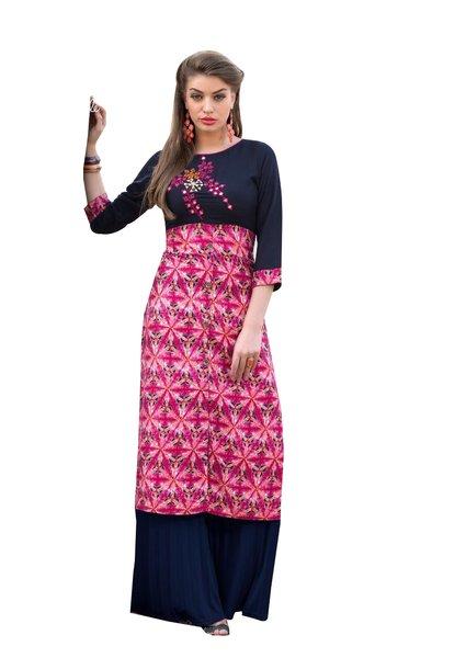 Designer Rayon Cotton Pink Embroidered Long Kurta Kurti Size XL SCKS106